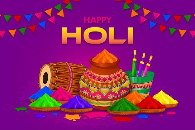 Happy holi, festival colorido da saudação da índia Vetor Premium