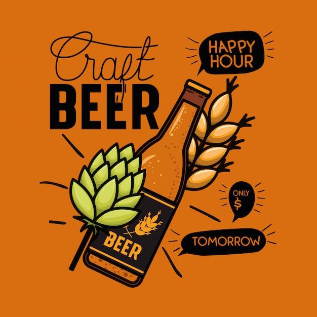 Happy hour cervejas rótulo com garrafa e folhas Vetor Premium