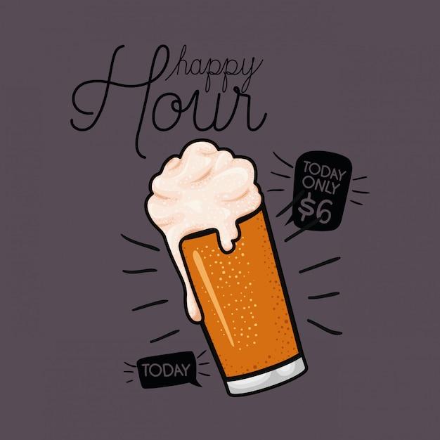 Happy hour cervejas rótulo com vidro Vetor Premium