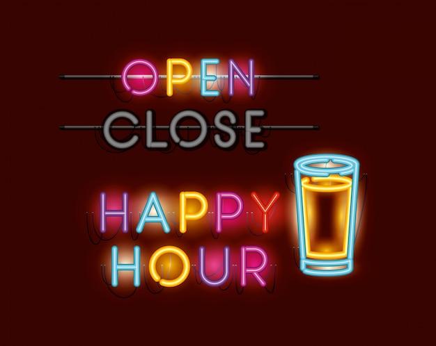 Happy hour com cerveja jar fontes neon luzes Vetor Premium