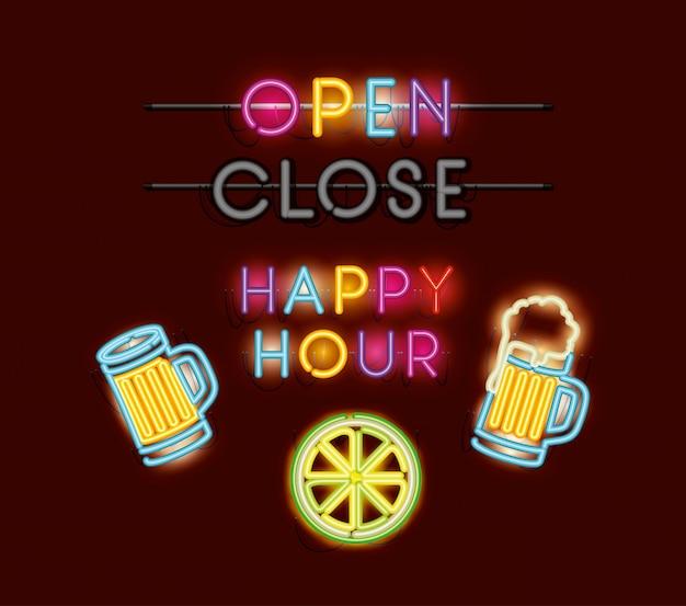Happy hour com cervejas fontes neon lights Vetor Premium