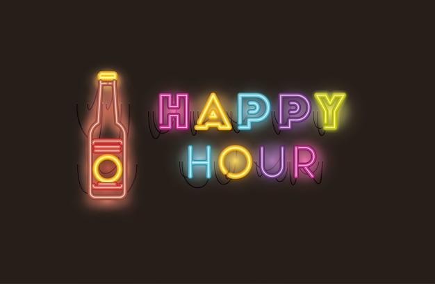Happy hour com fontes de garrafa de cerveja luzes de néon Vetor Premium