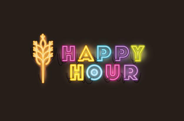 Happy hour com fontes de spike luzes de néon Vetor Premium
