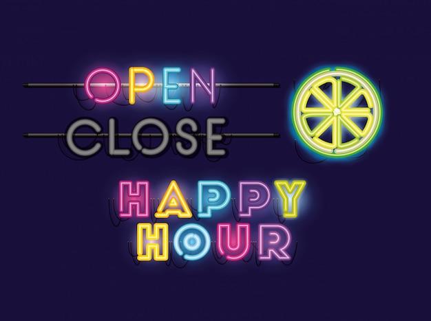 Happy hour com meio limão fontes luzes de néon Vetor Premium