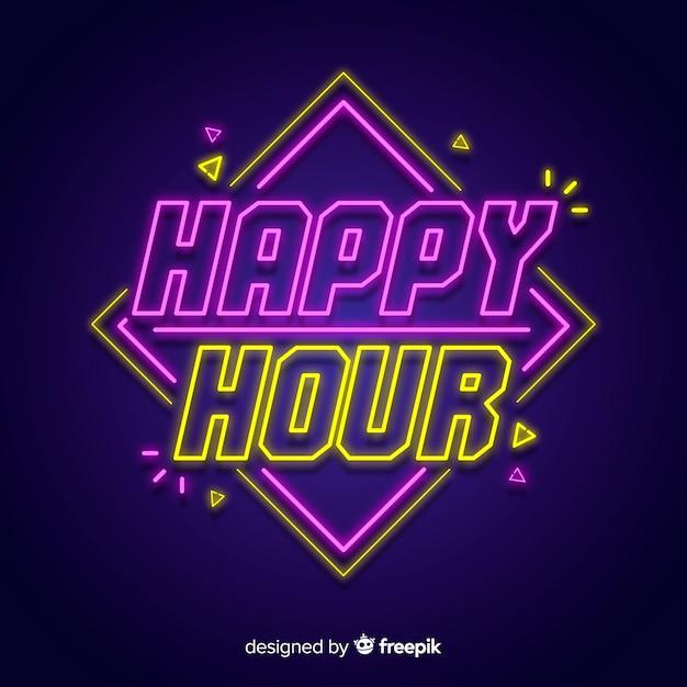 Happy-hour sinal de luz de neon Vetor grátis