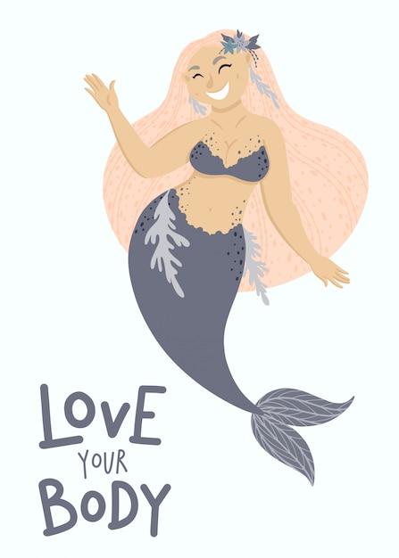 Happy plus size mermaid Vetor Premium