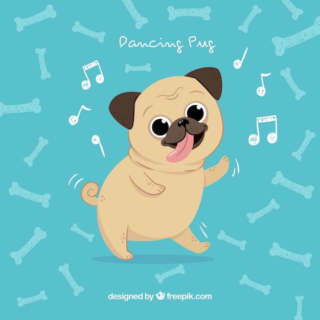 Happy pug dancing com estilo desenhado à mão Vetor grátis