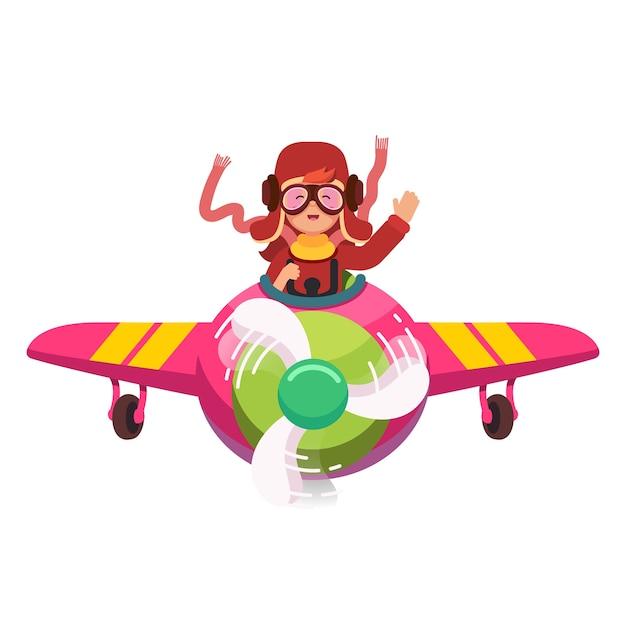 Happy smiling kid flying avião como um piloto real Vetor grátis