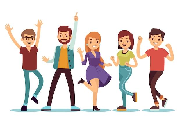 Happy smilling dançando jovens na festa de natal. conjunto de pessoas de vetor dos desenhos animados Vetor Premium