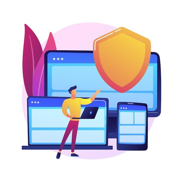 Hardware de seguro eletrônico. site de seguradoras digitais, web design responsivo, software de proteção contra malware. garantia de segurança de gadgets Vetor grátis