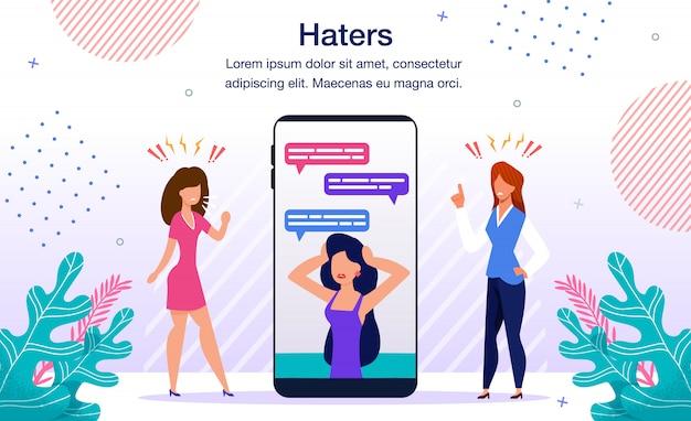 Haters cyberbullying flat Vetor Premium