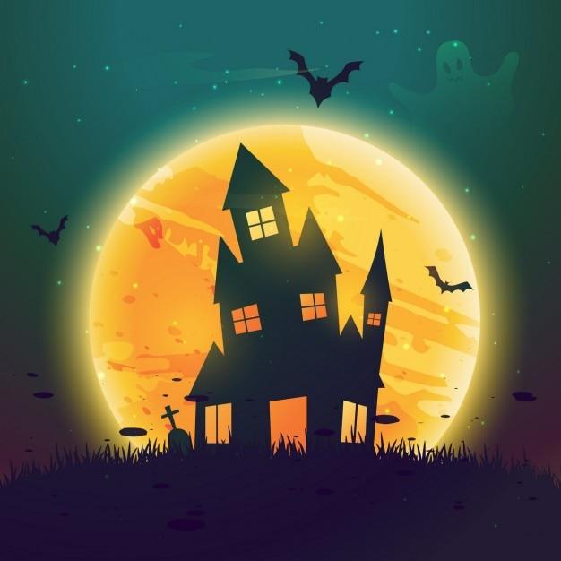 Hause assombrado do dia das bruxas na frente da lua Vetor grátis