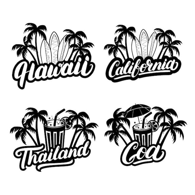 Havaí, califórnia, goa e tailândia mão escrita letras de texto Vetor Premium