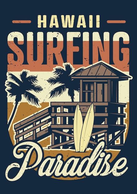 Havaí vintage surf cartaz colorido Vetor grátis