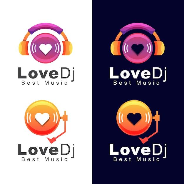 Headphone love dj music logo, melhor modelo de design de logotipo de música de som Vetor Premium