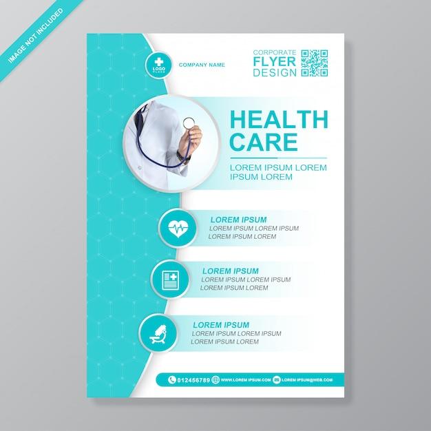 Healthcare and medical cover a4 modelo de design de folheto para impressão Vetor Premium