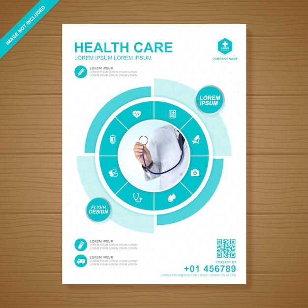 Healthcare and medical cover modelo de design de folheto a4 Vetor Premium