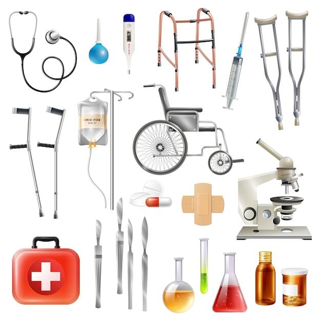 Healthcare medical accessories flat icons set Vetor grátis