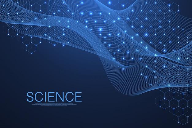 Hélice dupla do adn científico do fundo da molécula com profundidade de campo rasa. misterioso ou com moléculas de dna. cuidados de saúde e padrão de inovação científica. Vetor Premium