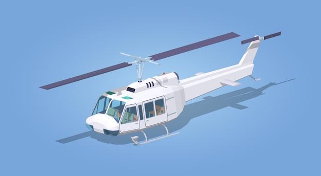 Helicóptero branco Vetor Premium