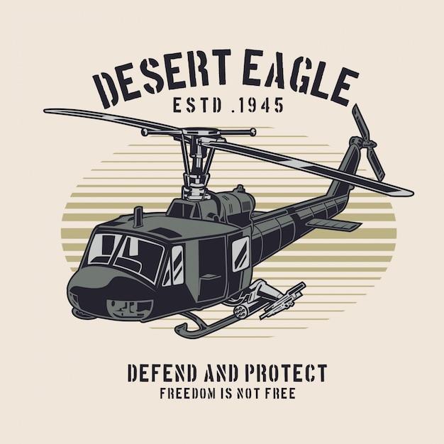 Helicóptero da águia do deserto Vetor Premium