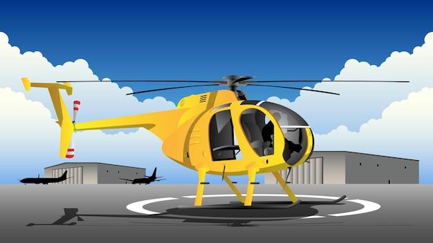 Helicóptero no campo de aviação com ilustração do fundo do hangar Vetor Premium