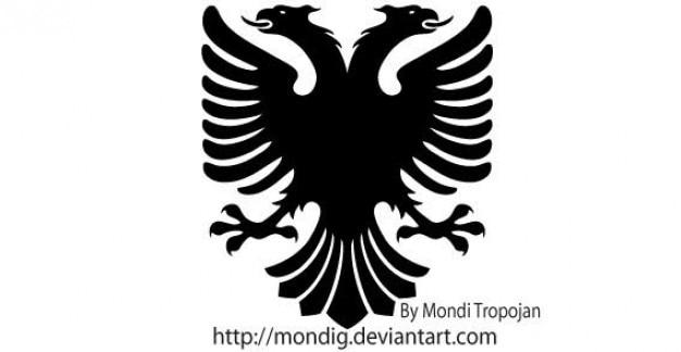 Heráldico eagle vector silhouettes Vetor grátis