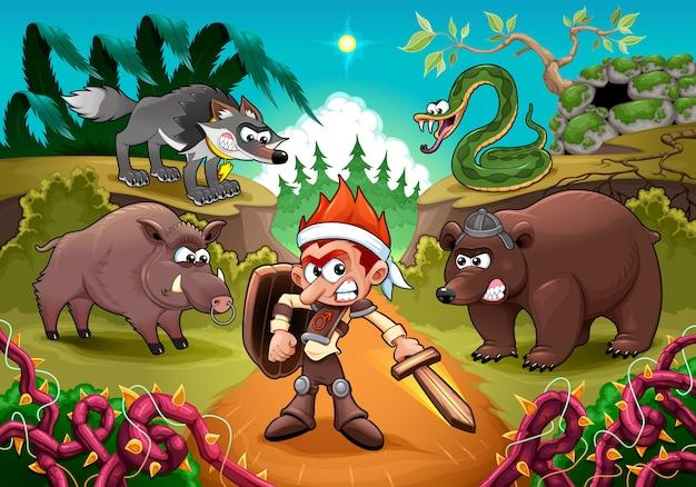 Herói lutando contra seus inimigos. ilustração em vetor dos desenhos animados para crianças. Vetor grátis