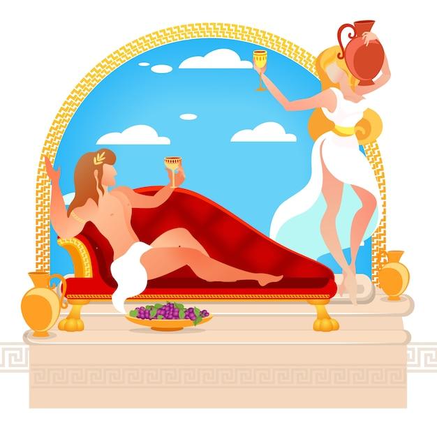 Heróis dos mitos gregos deuses de dionísio e ariadne Vetor Premium