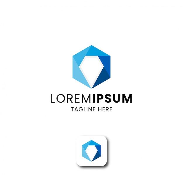Hexágono abstrato com modelo de design de ícone de logotipo em forma de diamante Vetor Premium
