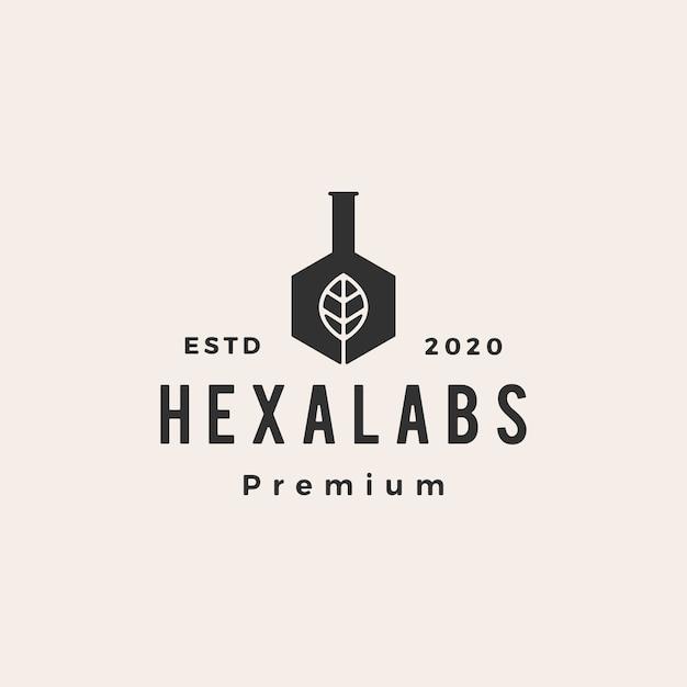Hexágono folha laboratórios hipster logotipo vintage icon ilustração Vetor Premium