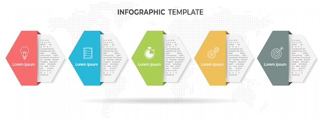 Hexágono moderno timeline infográfico 5 opções. Vetor Premium