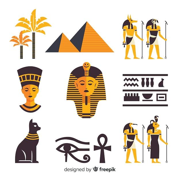 Hieróglifos do egito e coleção de elementos de deuses Vetor grátis