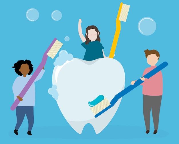 Higiene dentária e cuidados de saúde Vetor grátis