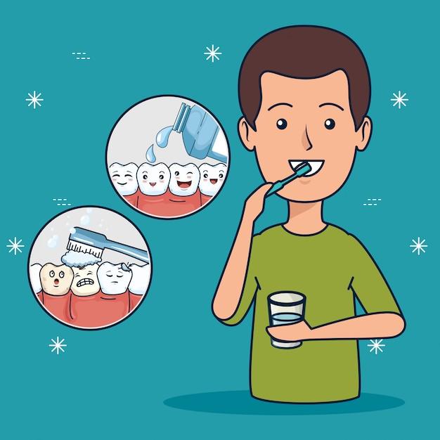 Higiene do paciente com escova de dentes e enxaguatório bucal Vetor grátis