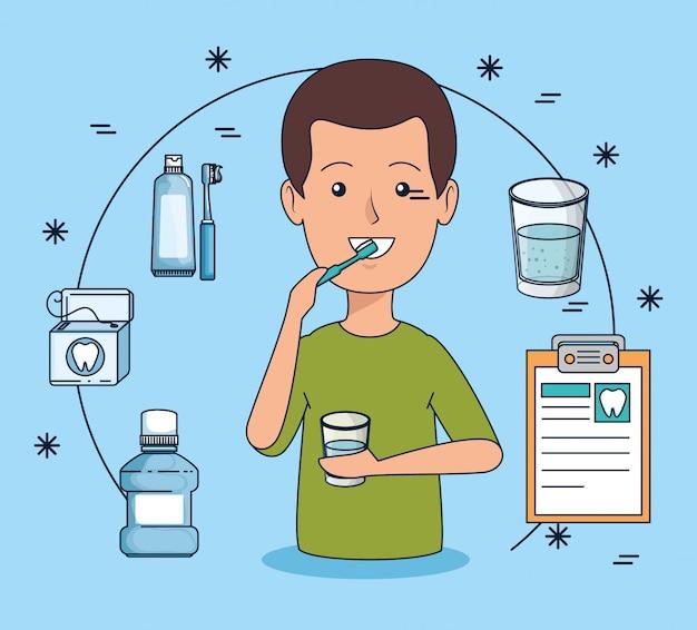 Higiene dos dentes do homem com escova de dentes e enxaguatório bucal Vetor grátis