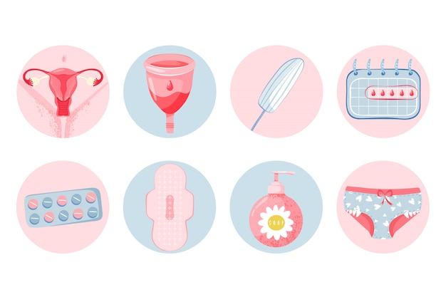 Higiene feminina com copo menstrual Vetor Premium
