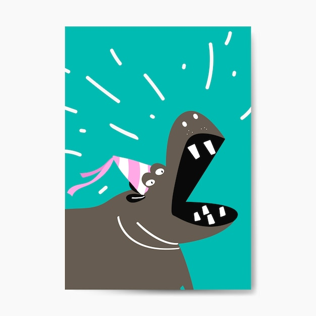 Hipopótamo bonito vestindo um projeto de vetor de desenhos animados de chapéu de festa Vetor grátis