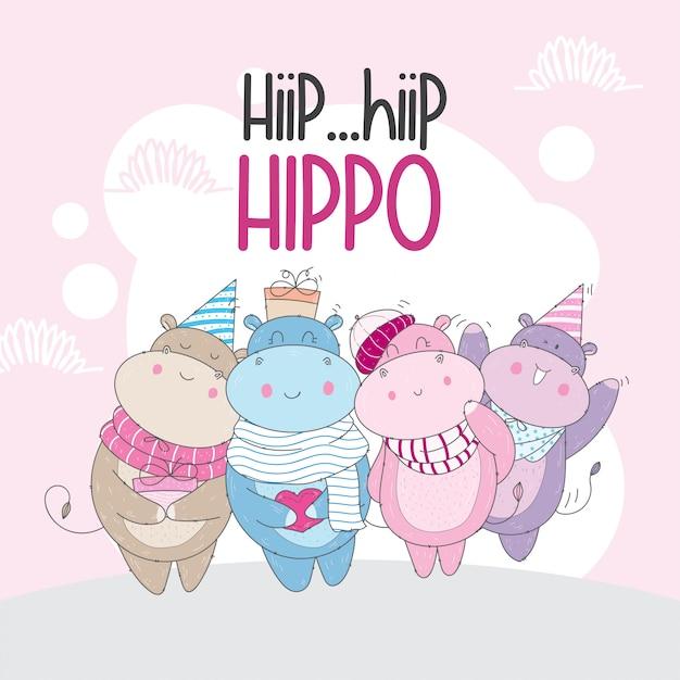 Hipopótamo fofo com um lenço Vetor Premium
