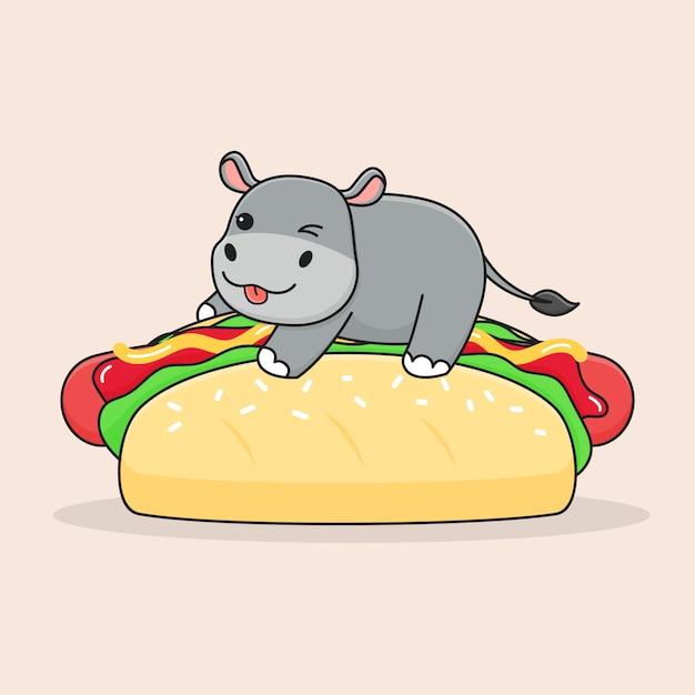 Hipopótamo fofo em cima de cachorros-quentes Vetor Premium
