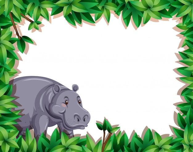 Hipopótamo na fronteira da natureza Vetor grátis