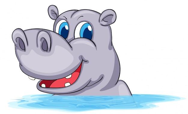 Hipopótamo nadando na água Vetor grátis