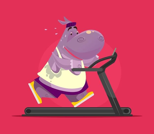 Hipopótamo sorridente e feliz fazendo exercícios na esteira Vetor Premium