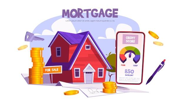 Hipoteca, empréstimo para compra de casa. aplicativo móvel com pontuação de crédito para compra ou construção de imóveis. Vetor grátis