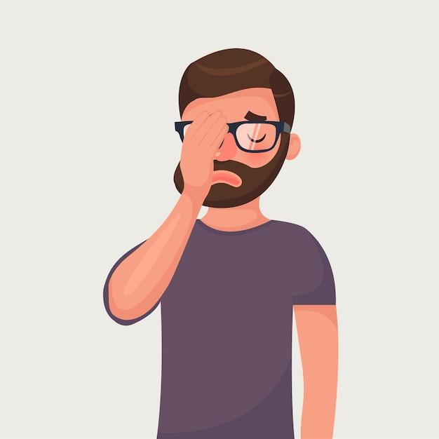 Hipster barba homem de óculos faz um gesto facepalm. Vetor Premium