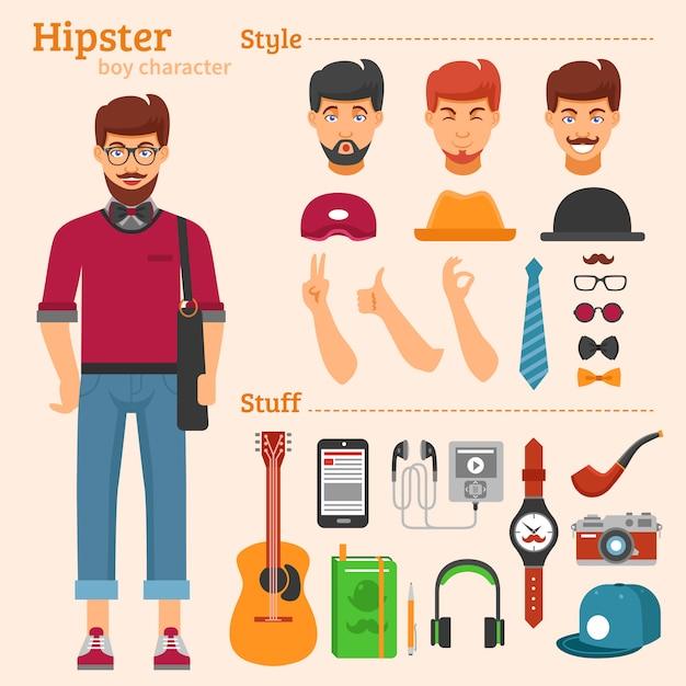 Hipster boy character conjunto de ícones decorativos Vetor grátis