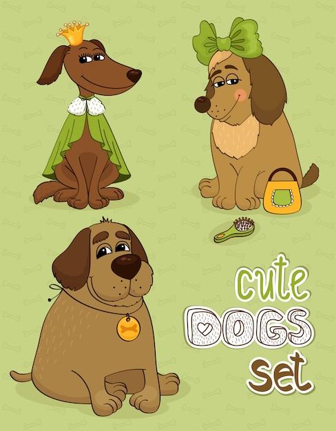 Hipster conjunto de cães engraçados fofos Vetor grátis