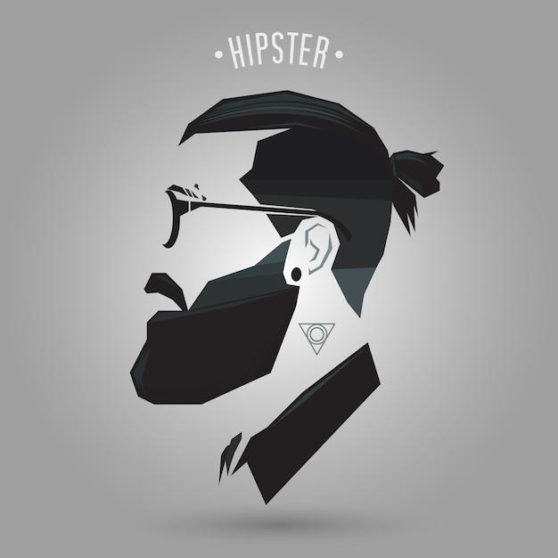 Hipster de penteado Vetor Premium