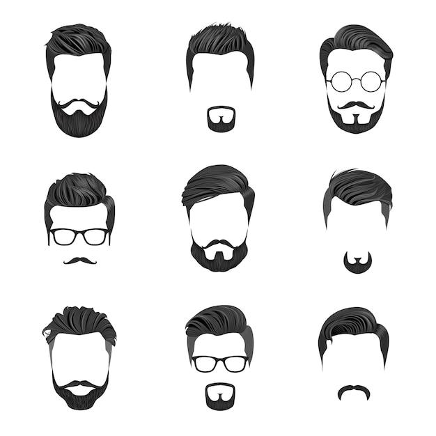 Hipster hair, moustaches e barbas. hipster style vector illustration Vetor Premium