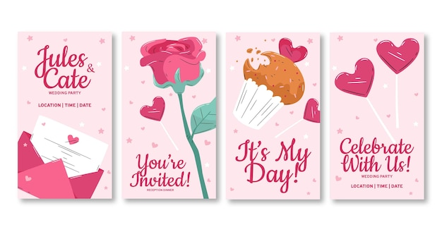 História de convite de casamento no instagram Vetor grátis
